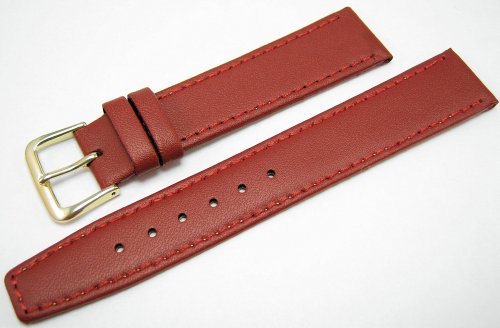Red Leather Watch Strap Band With A Stitched Edging And Nubuck Lining 18mm