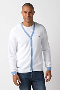 Cardigan with Fine Stripe Rib Trim