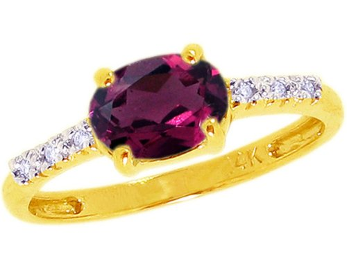 14K Yellow Gold Sweet Oval Gemstone and Diamond East-West Promise Ring-Rhodolite, size8