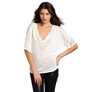 LAmade Women's Deep V-Cowl Neck Top, Off White, Medium