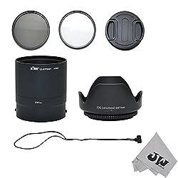 JW P520K 67MM UV CPL Filter Lens Adapter Lens Hood/Cap Set For Nikon Coolpix P510 P520 P530 + JW emall Micro Fiber Cleaning Cloth