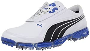 PUMA Men's AMP Cell Fusion Golf Shoe,White/Black/Dirtectoire,12 M US
