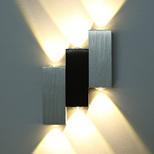 Amzdeal® Lampada da parete in alluminio spazzolat Lampada a risparmioLampada moderno da parete a LED Lampada da parete corridoio Lampada a energia (bianco caldo)