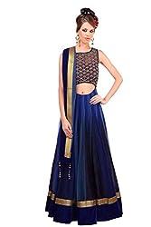 Khazanakart Net Lase Work Blue Semi Stitched Bollywood Designer Lehenga Choli
