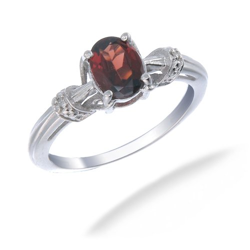 8x6MM 1.40 CT Garnet & Diamond Ring In Sterling Silver In Size 8 (Available in Sizes 6 - 9)