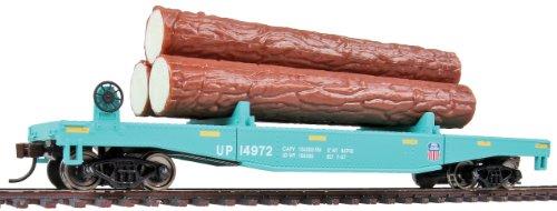 voie-h0-walthers-log-dump-car-avec-troncs-union-pacific