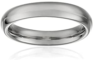 Women's 10k White Gold 4mm Traditional Plain Wedding Band, Size 4