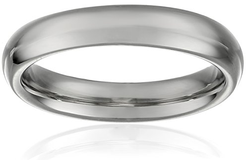Women's 10k White Gold 4mm Traditional Plain Wedding Band, Size 6