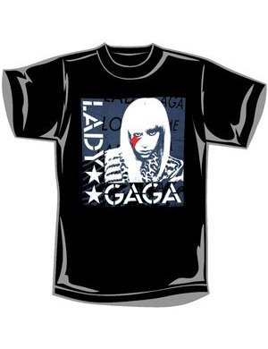 Lady Gaga T-Shirt Black Stars Design-Black-Large
