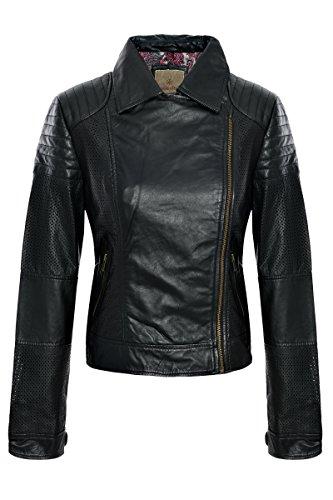 Paisley Park Lederjacke 102/9913 mit Perforation in Farbe 100 schwarz
