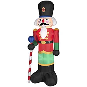 6 5 tall christmas red lighted nutcracker led for Airblown nutcracker holiday lawn decoration