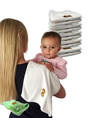 Baby Travel Burp Cloth Bib Microfiber Towels Birth till Adult - 10 Pack Bonus