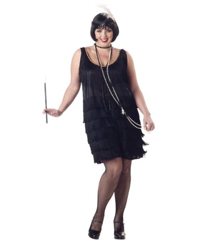 BLACK OR RED Plus Size Fashion Flapper Costume and Headband (other accessories not included)