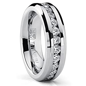 Ultimate Metals Co. 6MM Ladies Eternity Titanium Ring Wedding Band With CZ Size P