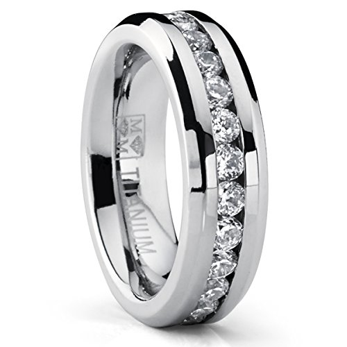 Eternity Titanium Ladies Ring 6mm, Wedding Band with CZ size 8.5