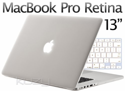 =>>  Kuzy - 2in1 Retina 13-Inch White/Clear Rubberized Hard Case and Keyboard Cover for Apple MacBook Pro 13.3