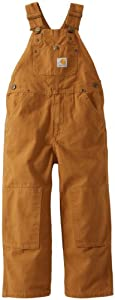 Carhartt Boys 2-7 Duck Washed Bib Overall,Carhartt Brown,5