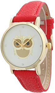 Ladies Owl Design Leather Watch - Red