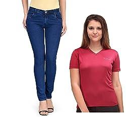 Oleva Women combo set of 2 (denim Blue jeans and Maroon T-Shirt ) ONC-07_36