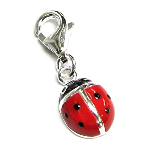 Sterling Silver Red Black Lady Bug Ladybug Enamel Dangle Charm Pendant For European Clip On Charm Jewelry W/ Lobster Clasp