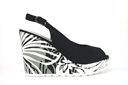 scarpe donna APEPAZZA sandali zeppe nero tessuto AK607 (38 EU)