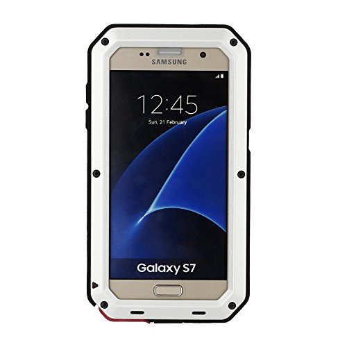 Galaxy S7 Case,Mangix 3C-Aone Gorilla Glass Luxury Aluminum Alloy Protective Metal Extreme Shockproof Military Bumper Finger Scanner Cover Shell Case Skin Protector for Samsung Galaxy S7 (Silver)