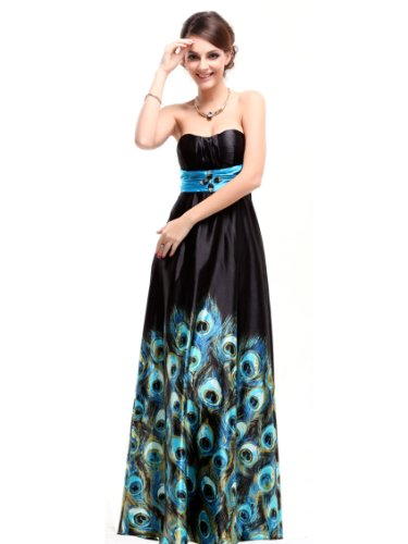 Ever Pretty Animal Printed Strapless Rhinestones Satin Ruffles Prom Dress 09622