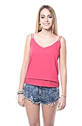 Pink NOODLE STRAP TOP For Women