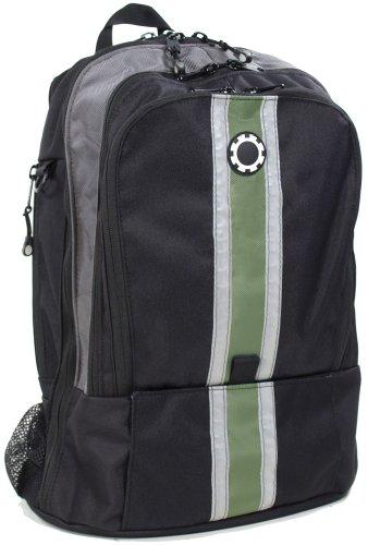 Dadgear Backpack Diaper Bag - Green Center Stripe front-3266