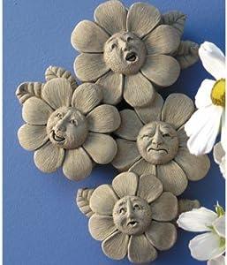 SPRING QUARTET Flower Faces Wall Plaque Cast Cement