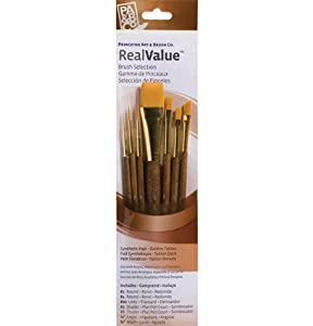 P Brush Princeton Series 9000 Brown Handled Brush, Set of 7
