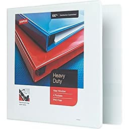 Staples 3 Inch Heavy-Duty View Binder with D-Rings (White)