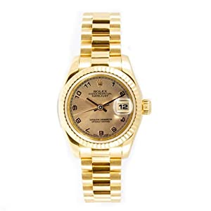 Rolex Ladys President New Style Heavy Band 18k Yellow Gold Model 179178 Fluted Bezel Champagne Arabic Dial