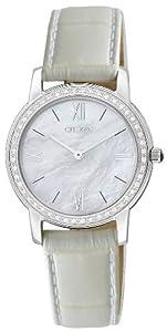 Citizen Stiletto EG3200-12D - Reloj analógico de cuarzo para mujer, correa de cuero color blanco (solar)