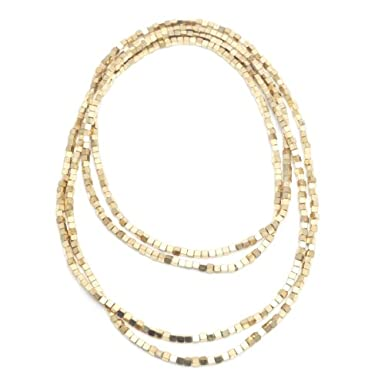Gold Square Bead Necklace