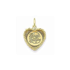 14k Gold Happy Birthday Heart Disc Charm