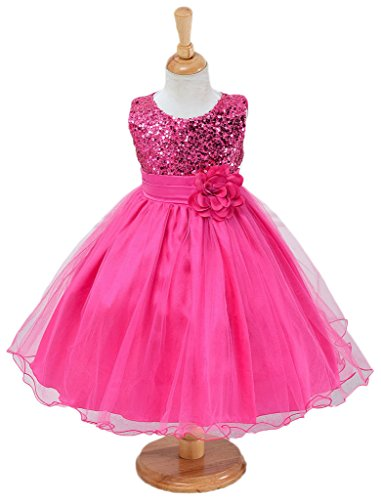 I'MQueen Girls Kids Wedding Party Gown Darling Bowknot Fuschia Flower Dresses (Lil Girls Prom Dresses compare prices)