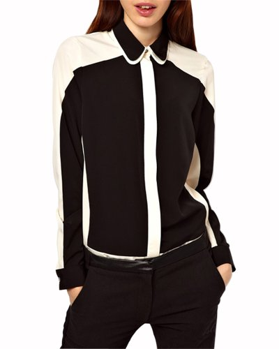 HaboZoo Womens Fahion Long Sleeve Black White Lapel Blouse Large