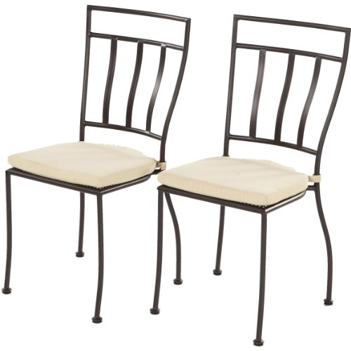 Alfresco Home Semplice Wrought Iron Bistro Chairs With Natural Cushions, Charcoal, Set Of Two