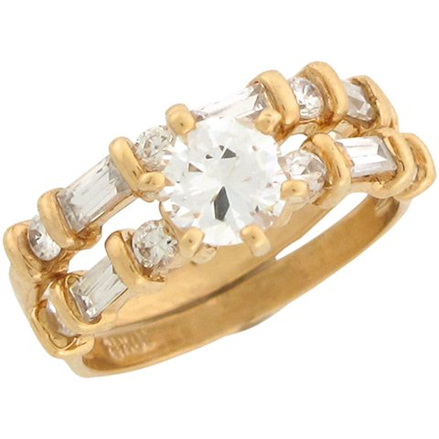 9ct Yellow Gold White CZ Lovely Wedding Engagement Duo Rings