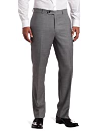 Tommy Hilfiger Mens Flat Front Trim Fit 100% Wool Suit Separate Pant, Grey Solid, 30W x 30L