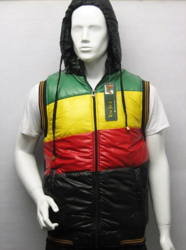 Hooded Gilet Bodywarmer Rasta Jacket in Black and Green Yellow Red, Size XX-Large
