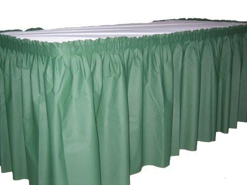 "Kwik-Cover KS3096PK-GR PKG. Green Kwik-Skirt With 30"" X 96"" White Cover Fitted Table Cover With Skirt, (1 full case of 10)"