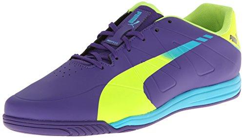 Puma Men'S Evospeed Star Iii Indoor Soccer Shoe,Prism Violet/Fluorescent Yellow/Scuba Blue,10.5 M Us