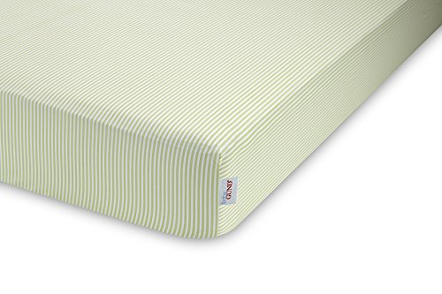 GUND Babygund Stripes Deluxe 300 Thread Count Crib Sheet, Stripes - Pistachio, 28'' By 52''