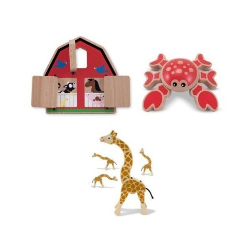 4-Item-Bundle-Melissa-and-Doug-3070-Giraffe-Grasping-Toy-4035-Pee-a-Boo-Barn-4038-Twisting-Crab-First-Play-Toys-Bonus-Activity-Book