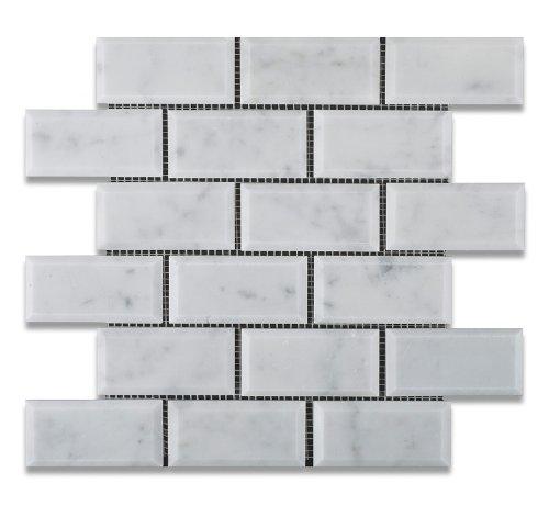 "Bianco Carrara White Marble 2 X 4 Honed & Beveled Brick Mosaic Tile - 6"" X 6"" Sample"