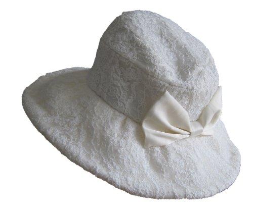 UNOUNO 総レース リボン付き 日よけ 帽子/F/オフホワイト×オフホワイト