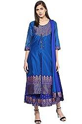 Trishaa by Pantaloons Women's Anarkali Skirt Kurta Dupatta ( 205000005645227, Blue, Large)