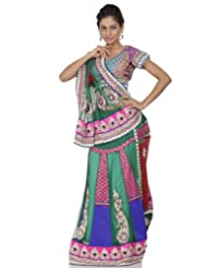 Chhabra555 Green Net One Minute Saree - B00J4ROY3E